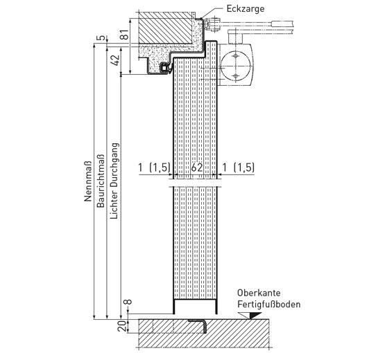 Tür vertikalschnitt  Feuerschutztüren Premio | Novoferm