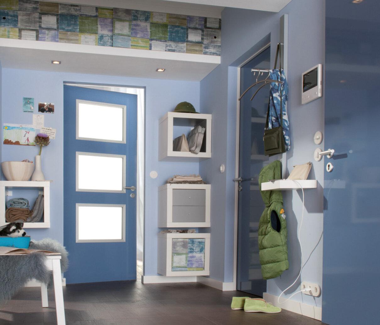 Innentür aus Stahl in blau mit Lichtöffnung 4